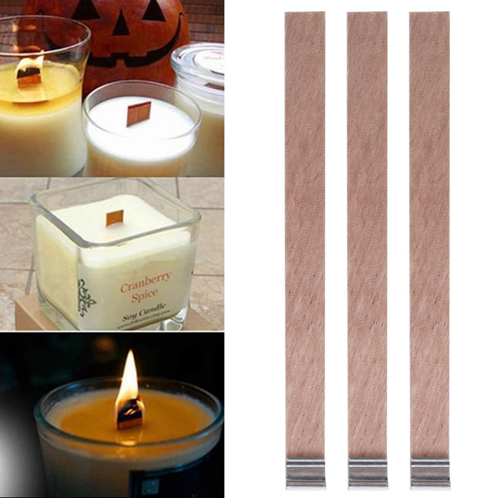 Home Decoration Craft,Candle Wood Wick with Sustainer Tab Candle Making Supply 10Pcs by Tebatu (Image #3)
