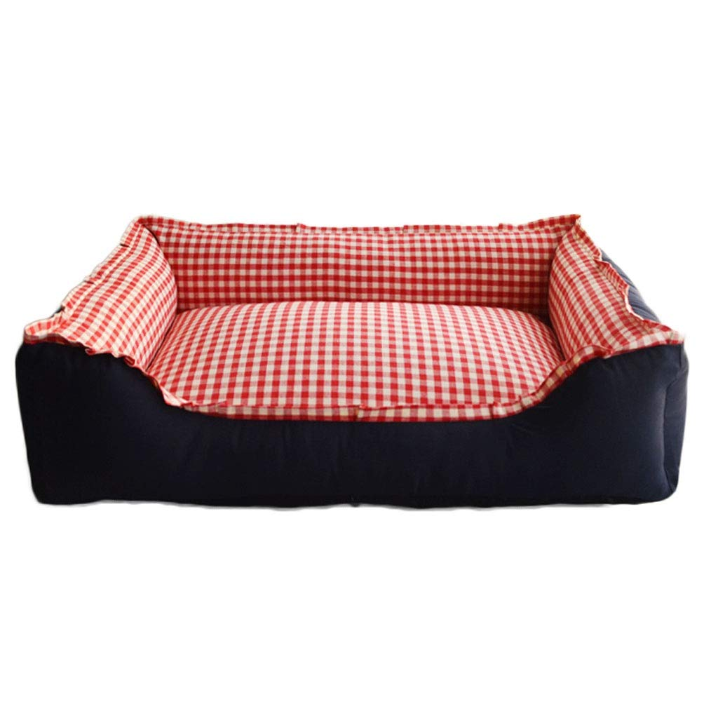 F 95×70cm F 95×70cm Square Plaid Pet Nest, Household Medium Large Cat Dog Bed, Outdoor Oxford Cloth Anti-Slip Pet Mat (color   F, Size   95×70cm)