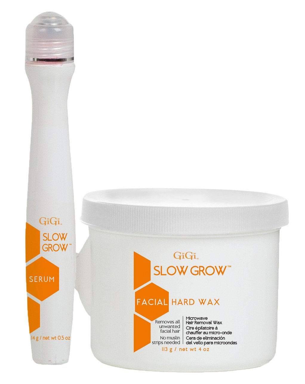 GiGi Slow Grow Facial Hair Removal 2-Step System from Fine to Coarse Hair with Papaya Extract, 4 oz