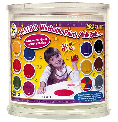 Center Enterprise CE6614 READY2LEARN Craft Set  with Circular Pads (Pack of 12) Jumbo Washable Circular Ink Pads