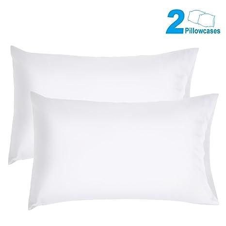 duractron- funda de almohada suave cutí, algodón, fina tamaño queen (50 x75 centimetro, 2 unidades, blanco)