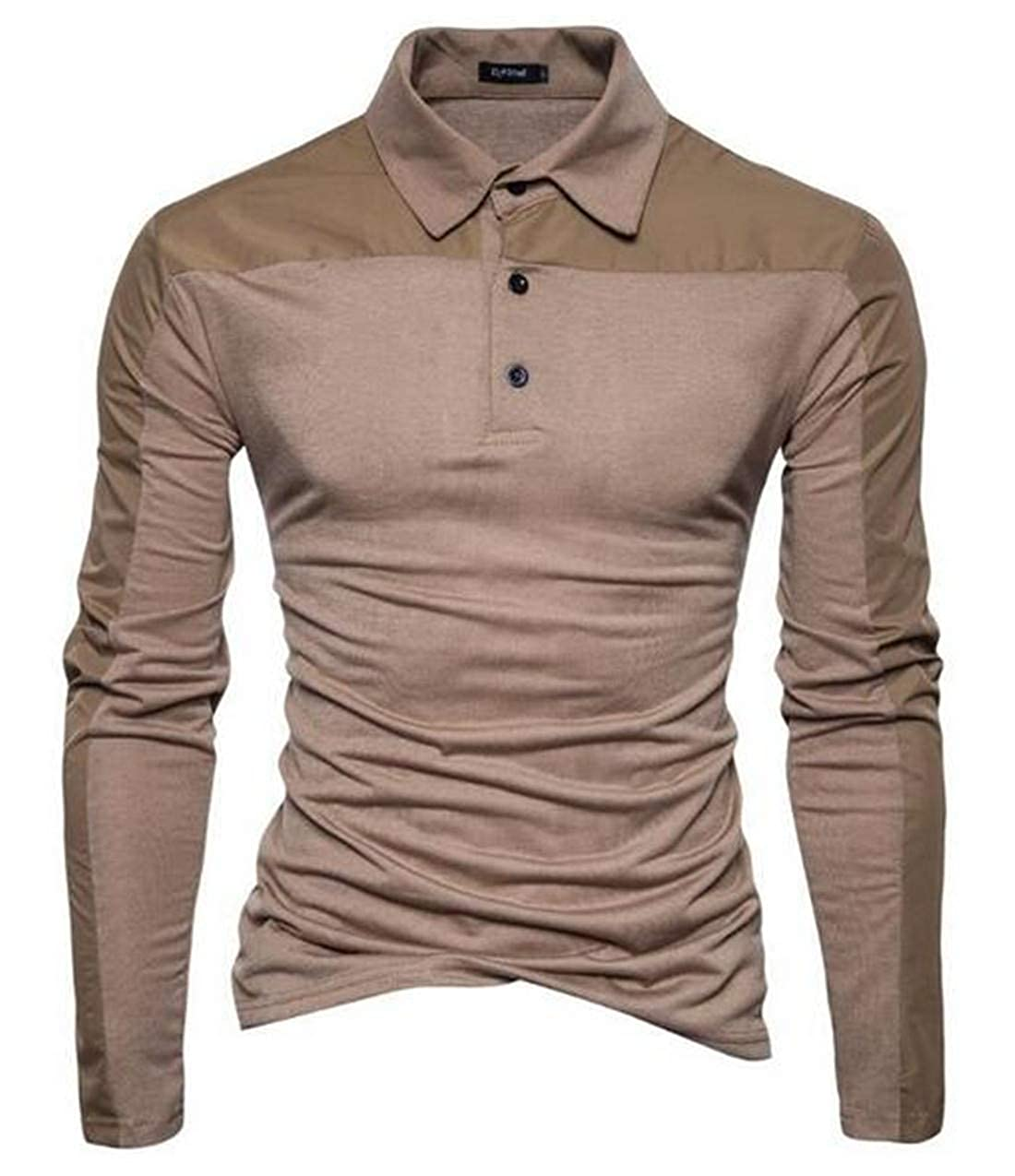 Bywx Men Casual Slim Fit Golf Polo Shirts Athletic Long Sleeve Top
