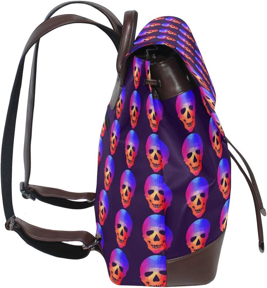 Leather Geometric Skull Backpack Daypack Bag Women