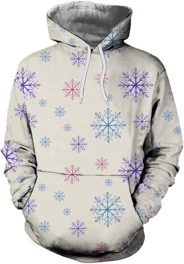 Pvkjsgia Sweatshirts Snowflake Printing Hoodies Pocket Long Sleeve Women Men Pullover