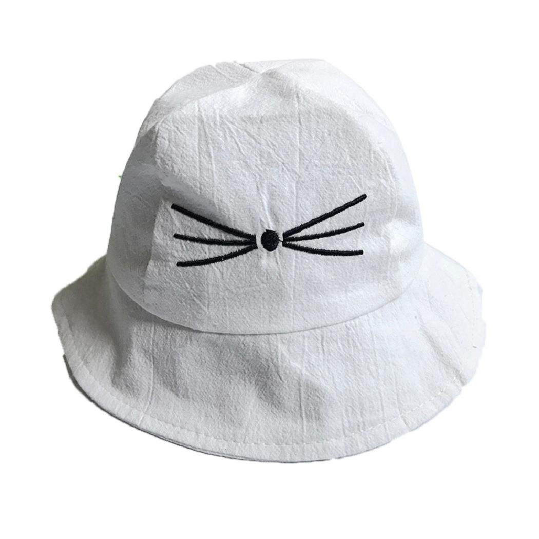Amazon.com  ShenPourtor Hat Baby Toddler Kids Cotton Brim Bucket Sun Hat  Cat Printed Sun Protection Bucket Hat (White)  Toys   Games 1630fa164bf