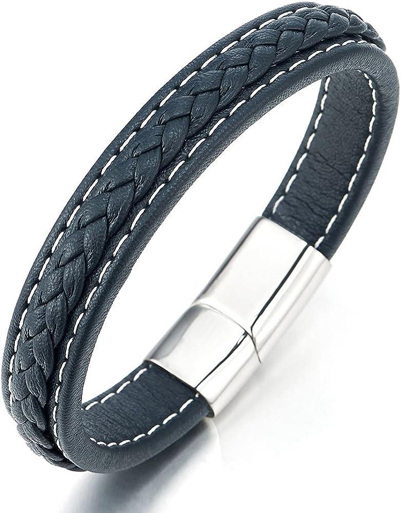 Cuir V/éritable Envelopper Bracelet Acier Inoxydable Fermoir Aimant/é COOLSTEELANDBEYOND Multi-Couleurs Bracelet Fait Main Hommes Femme