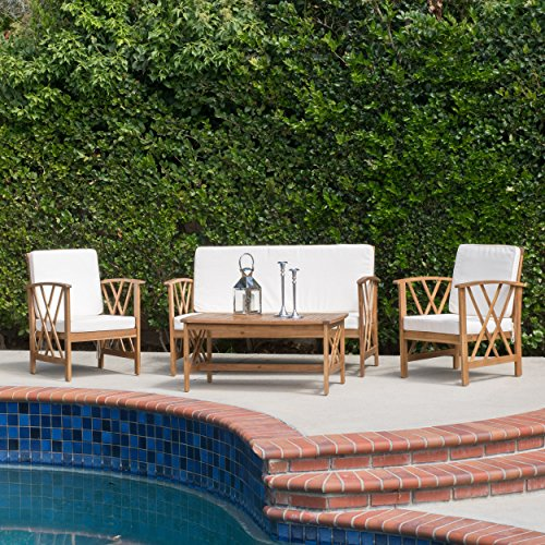 Used, Great Deal Furniture Zale Outdoor 4-Piece Acacia Wood for sale  Delivered anywhere in USA