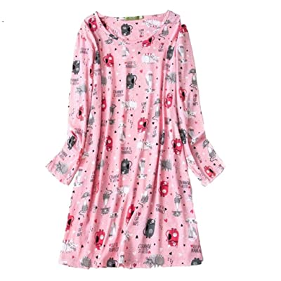 PNAEONG Womens Cotton Sleepwear Long Sleeves Nightgown Print Tee Sleep Dress