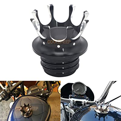 Coolsheep Motorcycle Gas Cap Fuel Tank Oil Cover Crown Style Universal for Harley Sportster XL 1200 883 48 Dyna Touring Road King Softail Freewheeler FLRT FLST White: Automotive