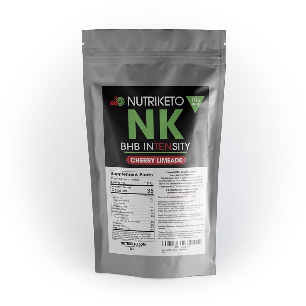 NutriKeto BHB Intensity - Cherry Limeade - 10g BHB per Serving - Ketogenic Diet - Exogenous Ketones - Caffeine Free by NutriKeto