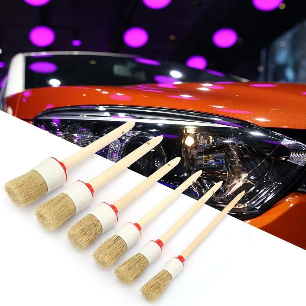 6 St/ück Kreide-Pinsel rund Schwein-Haarb/ürste Auto Detailing Cleaner /Ölmalerei Wachs Pinsel Set Holzgriff