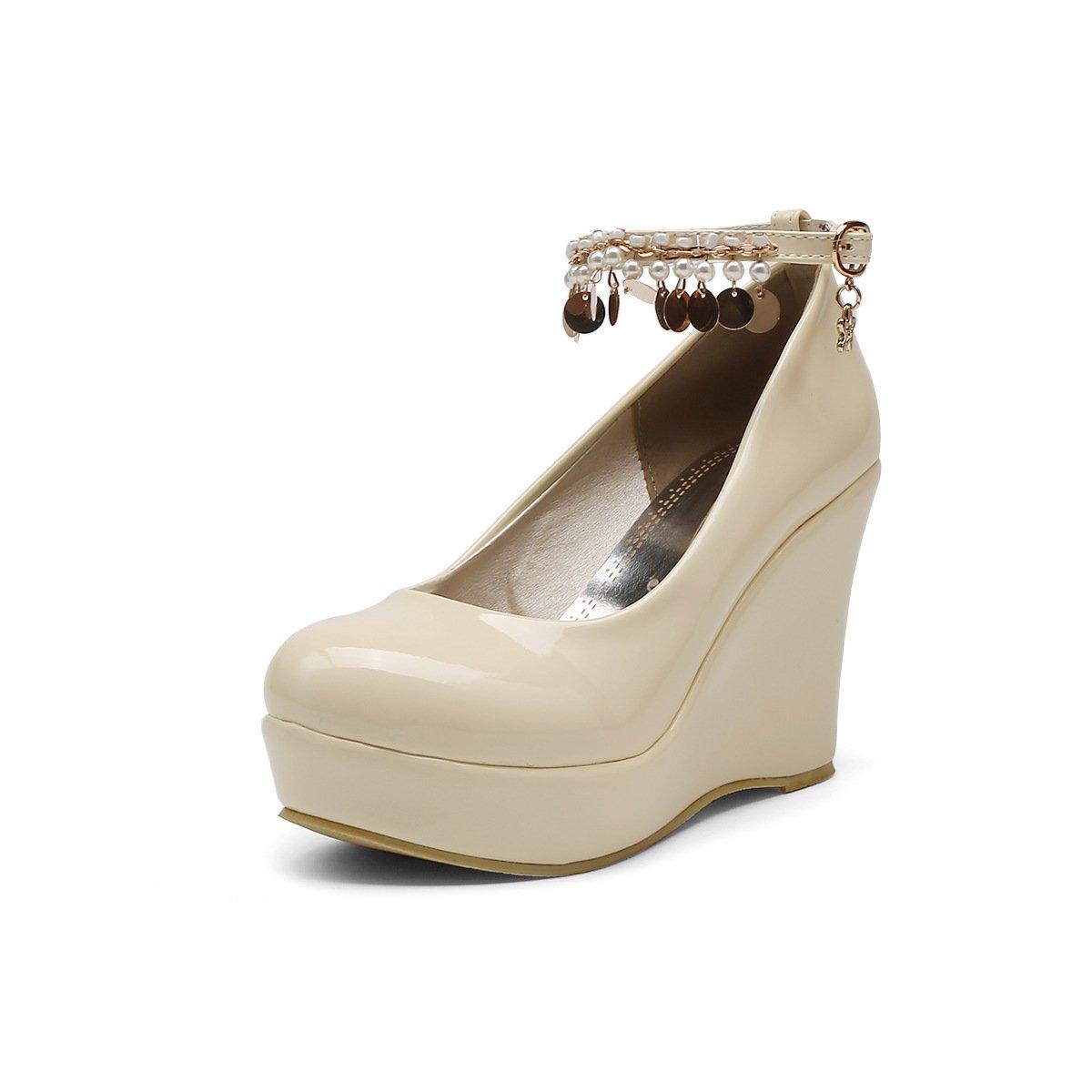 LSM-Heels MEI&S MEI&S LSM-Heels Frauen Dick Unten Keilabsatz Schuhe Flache Mund Beige abffeb