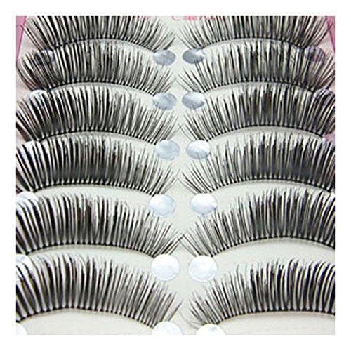 Bluelans® 10 Paar Lange Falsche künstliche Wimpern Dicke Schwarz Eyelasches Wimpernverlängerung Make-up