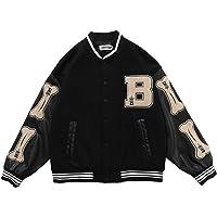 2021 New Vintage Streetwear Jacket,Oversized Patchwork Jacket,Flocking Embroidery Baseball Uniform,Pu Leather Stitching…