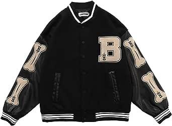 2021 New Vintage Streetwear Jacket,Oversized Patchwork Jacket,Flocking Embroidery Baseball Uniform,Pu Leather Stitching Coat (XXL,black)