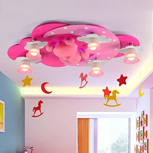 TY Kids Room Lights Creative Princess Lovely Ceiling Light Girl Room  Cartoon Child Bedroom Lamp Pink 110-120 V