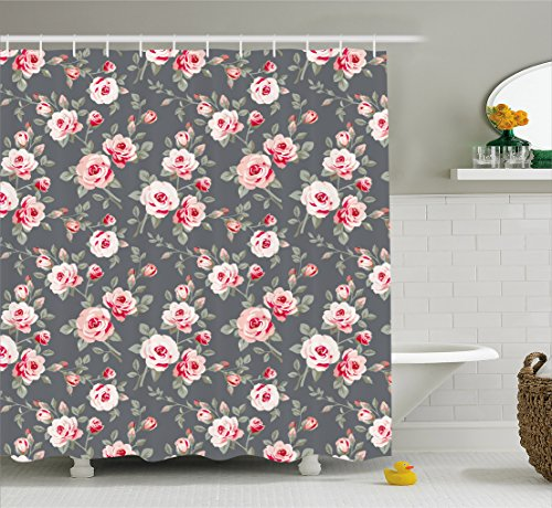 Shabby Chic Decor Shower Curtain by Ambesonne, Vintage Vibrant Roses Leaves Bush Buds Stems Rural Area Classical Pattern, Fabric Bathroom Decor Set with Hooks, 70 Inches, Multicolor - Designer Long Stem Roses
