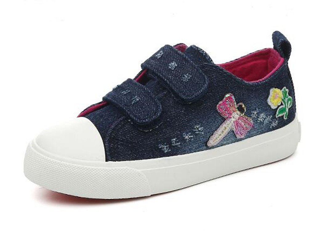 Bumud Kids Girl's Strap Canvas Shoe Fashion Sneaker(Toddler/Little Kid) (9 M US Toddler, Deep Blue) by Bumud