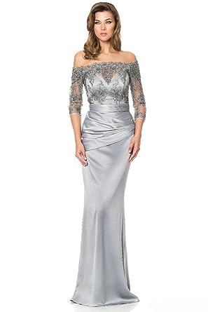 Fenghuavip Women s Off-Shoulder Lace Silver Long Bridal Mother Dress ... 9df944ec7c