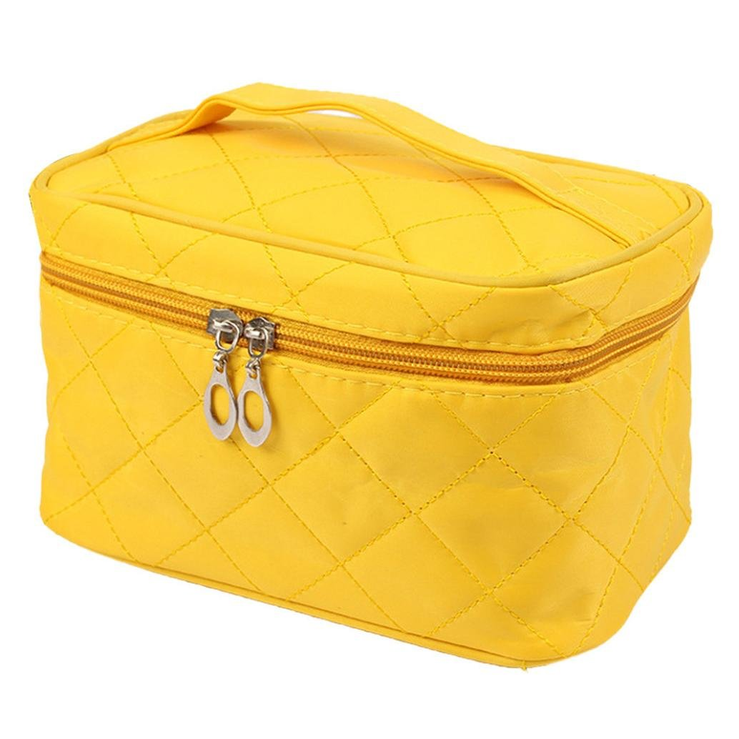 DZT1968® Large Cosmetic Bag Travel Makeup Organizer Case Holder With Mirror (Yellow)