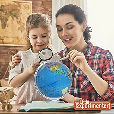 Illuminated World Globe for Kids With Stand,Built in LED for Illuminated Night View from Little Experimenter