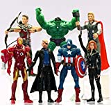 7 PCS The Avengers Hulk+Captain America+Black Widow+Iron Man+Thor Figure US