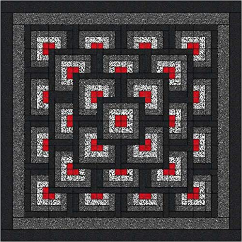 Easy Quilt Kit Boxed Maze!! Red, Black, White/King/Expedited Shipping by Material Maven