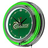 NCAA University of North Carolina Charlotte Chrome Double Ring Neon Clock, 14''