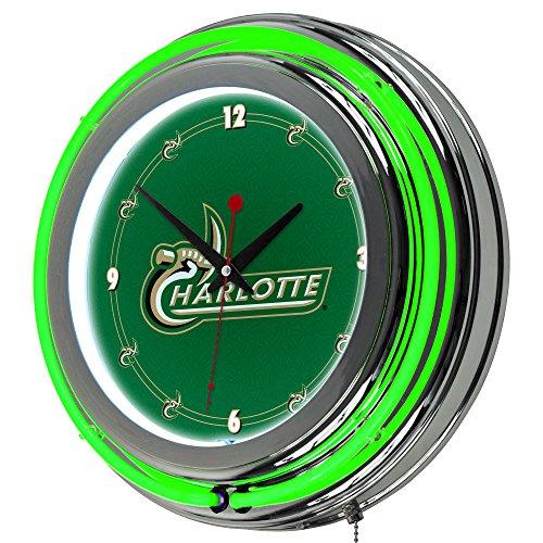 NCAA University of North Carolina Charlotte Chrome Double Ring Neon Clock, (Carolina Neon Wall Clock)