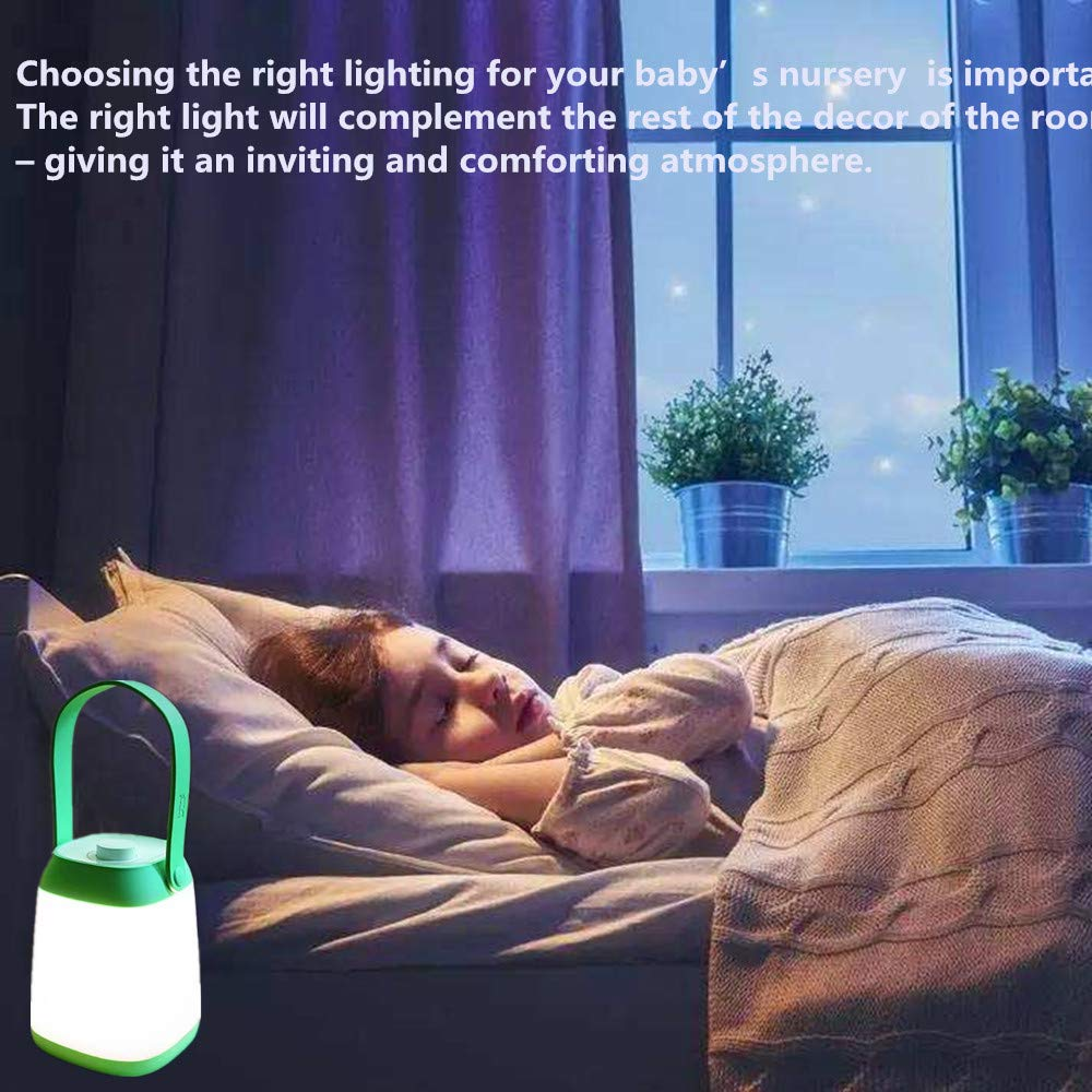 Baby Nursery Bedside Lamp with Stepless Dimming, Portable Rechargeable Warm White Led Nightlights for Newborn Breastfeeding Green Gift