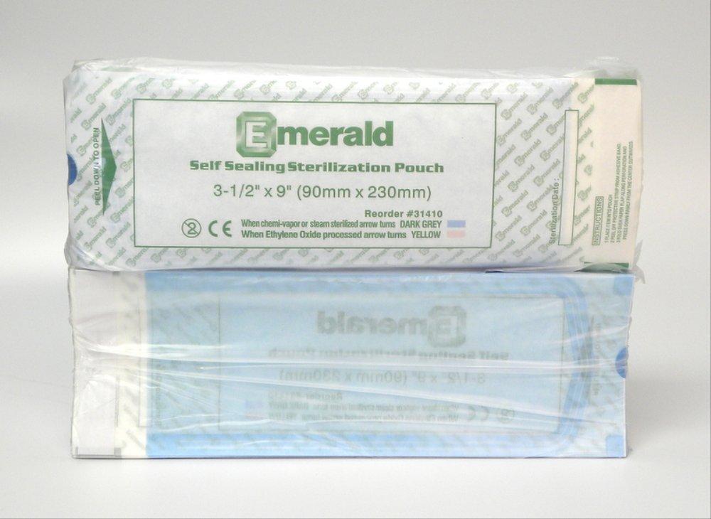 Emerald 3-1/2'' x 9'' Self-Sealing Sterilization Pouches Autoclave Bags 200 per box (2 Pack)