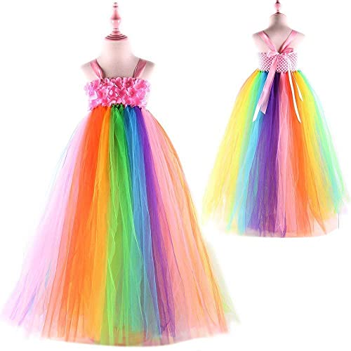 8709a30b85e81 Sweet Rainbow Flower Girls Tulle Tutu Dress Junior Bridesmaid Wedding  Dresses Girl Dress Summer