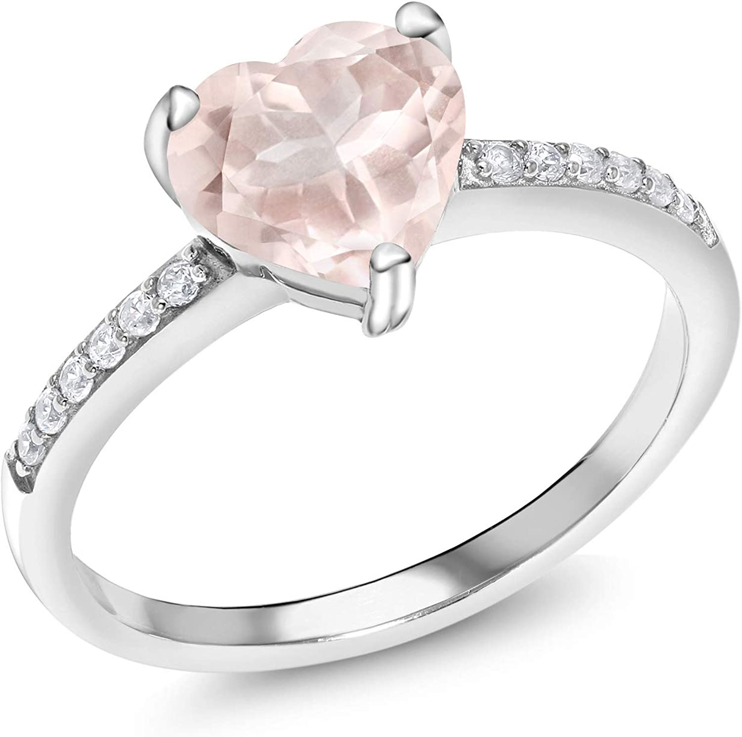 Gem Stone King 925 Sterling Silver Rose Rose Quartz Women Engagement Ring (1.90 Ct Heart Shape Available in size 5, 6, 7, 8, 9)