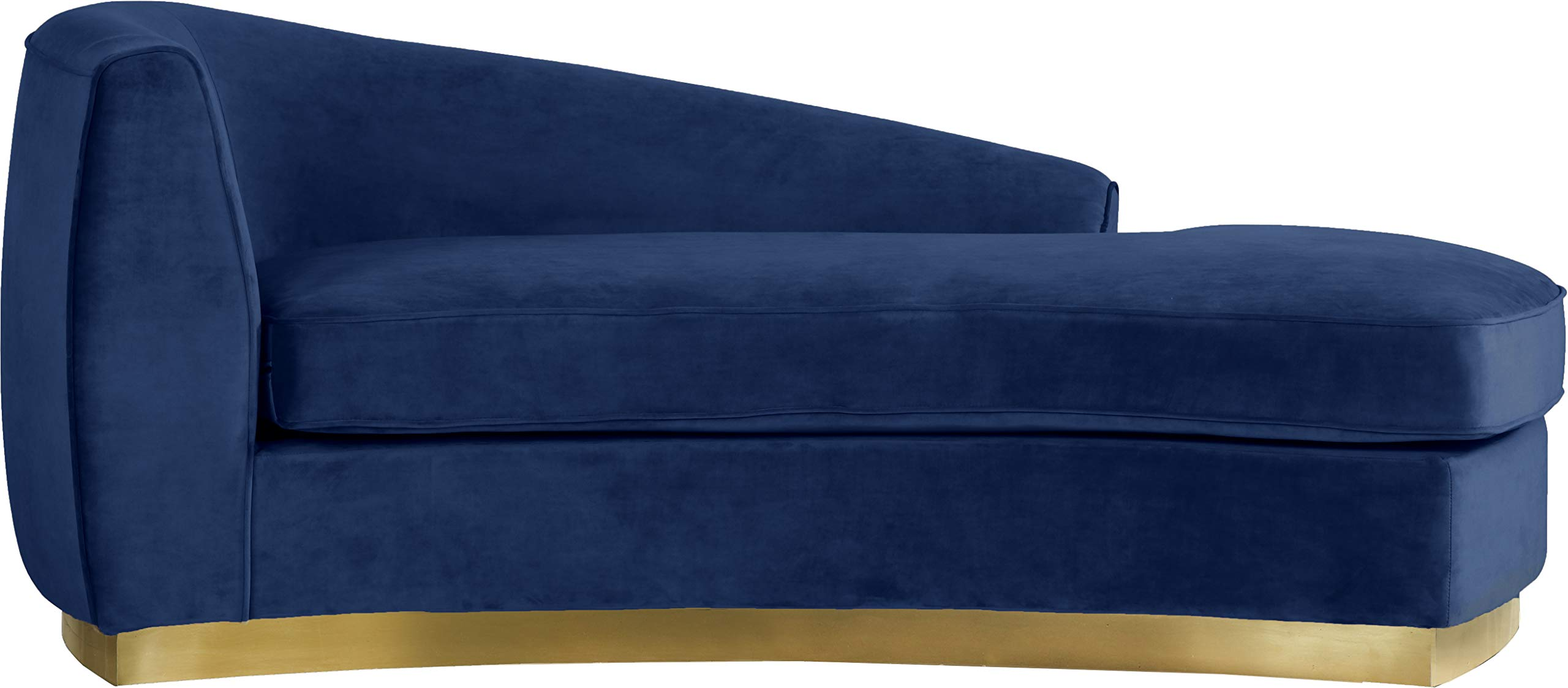 Meridian Furniture Julian Collection Modern | Contemporary Navy Velvet Upholstered Chaise with Stainless Steel Base in a Rich Gold Finish, 70'' W x 39'' D x 28'' H, by Meridian Furniture