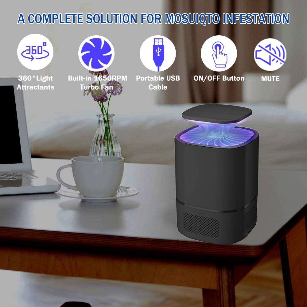 Micnaron Electric Bug Zapper Light Bulb Suction Mosquito Killer Lamp UV Led Electronic Insect /& Fly Killer for Indoor