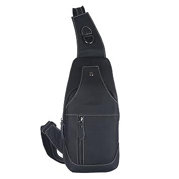 enjoy discount price hot-selling clearance genuine shoes Leathario Men's Leather Sling bag Chest bag One shoulder bag Crossbody Bag  Backpack for men