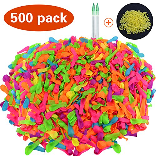 JINSEY Pack of 500 Water Balloons with Refill Kits, Latex Water Bomb Balloons Fight Games - Summer Splash Fun Toy for Kids and Adults