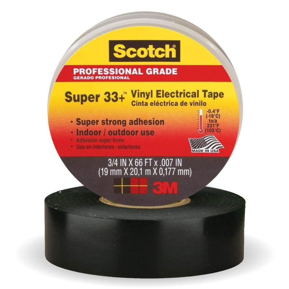 3 Pack 3//4 in x 66 ft Black Scotch Vinyl Electrical Tape Strong Super 33