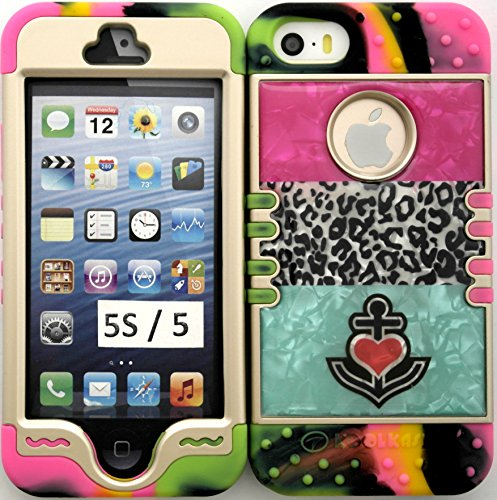 Iphone 5s / 5 CRYSTAL DESIGN Heart Anchor Leopard on Pink Teal Block Protective Cover Case on 2 Tone 3 Silicone Gel Hybrid Dual Layer Case Cover. Leopard Pink Heart