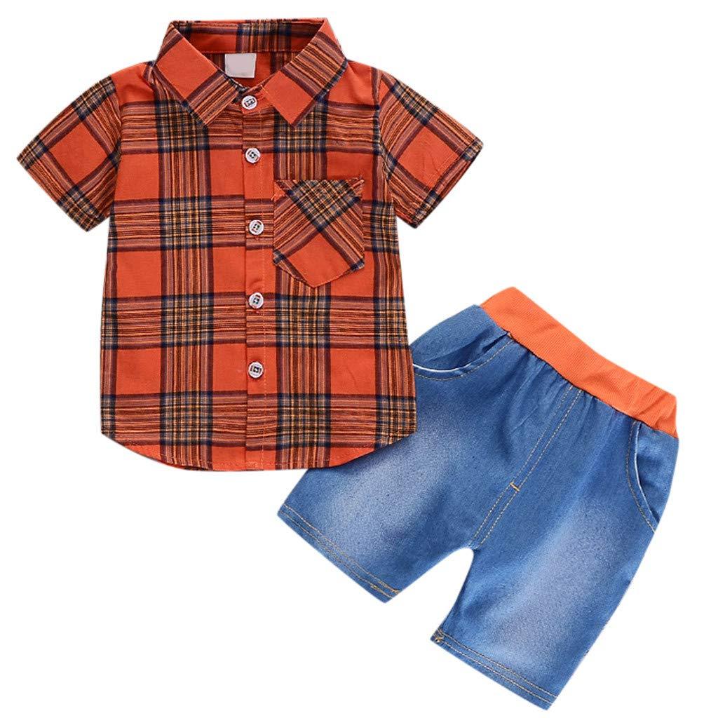 Adagod Infant Baby Girl Striped Cowboy Gentleman Plaid Shirt Print Solid Denim Shorts 2PC Set Outfits