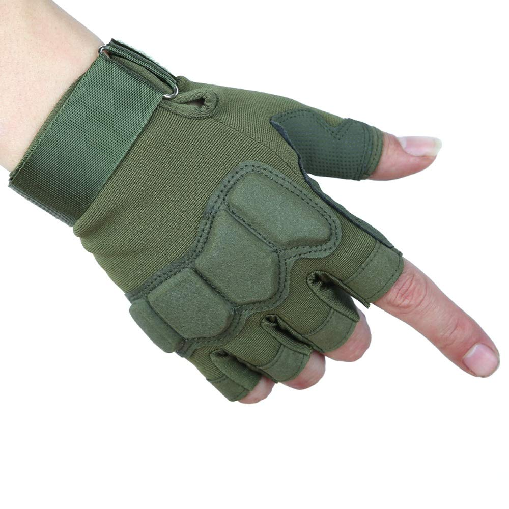 RONGLINGXING Handschuhe Handschuhe Gummi Harte Knöchel Halbe Finger Outdoor Fitness Handschuhe Für Männer Frauen Rutschfeste Durable Komfortable Tragen Resista Sport & Freizeit