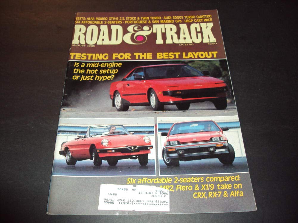 Road and Track Aug 1985 Six Affordable 2-Seaters at Amazons Entertainment Collectibles Store