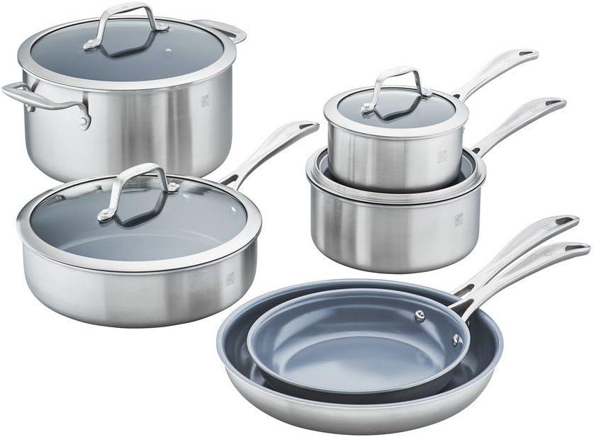 Stainless Steel Zwilling J.A. Henckels Spirit Ceramic Nonstick Cookware Set