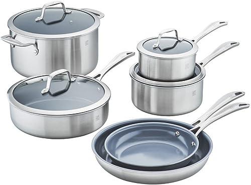 Zwilling J.A. Henckels Spirit Ceramic Nonstick Cookware Set, 10-pc, Stainless Steel
