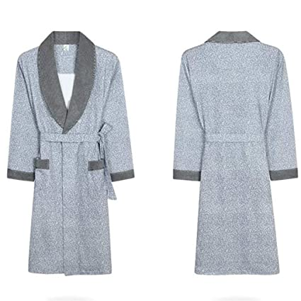 2166413af638 PLLP Comfortable Home Pajamas Shop Cotton with Pockets Bathrobe- Long  Sleeves Men Spring and Summer Nightgown Cotton Dresses Pajamas Bathrobe  Men s and ...
