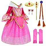 Sleeping Beauty Princess Aurora Costume Girls Birthday Party Dress Up With Accessories Age of 4-5 Years (Red 110CM)