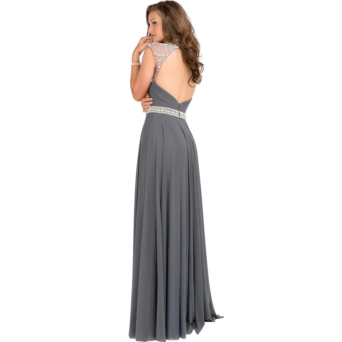 JVN by Jovani Womens Embellished Illusion Formal Dress - gray -: Amazon.co.uk: Clothing