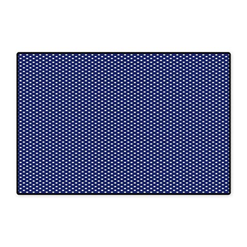 Navy Blue Door Mat Outside Old Fashioned Polka Dots Pattern in Marine Colors Retro Nautical Inspiration Floor Mat Pattern 32