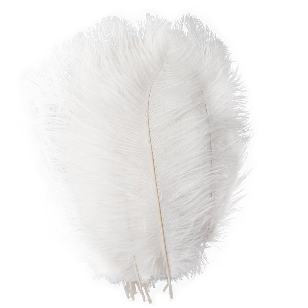 Piokio 20 pcs White Ostrich Feathers 12-14 inches(30-35 cm) in Bulk for Home Wedding Party Centerpieces