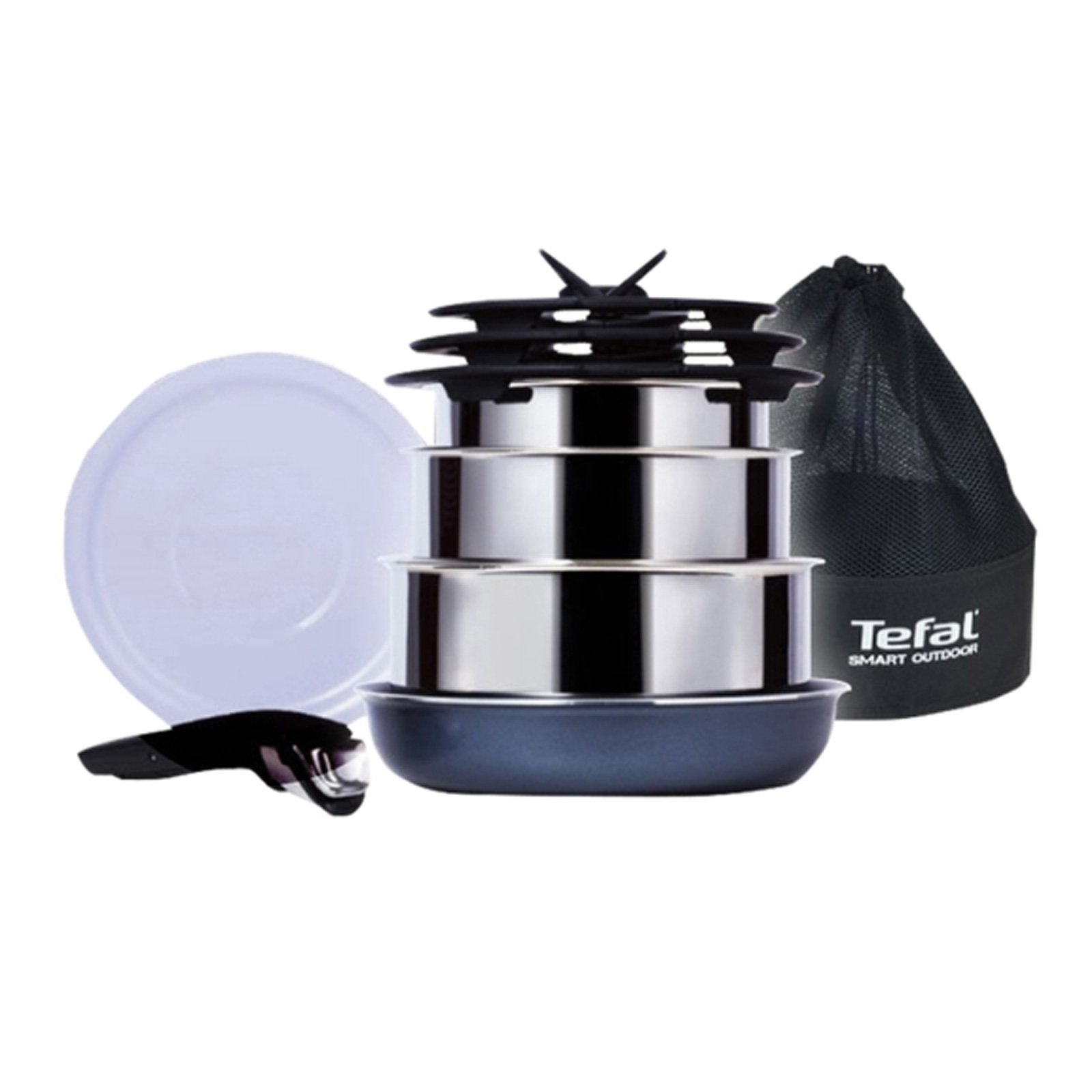 Tefal Smart Outdoor Magic Hands Camping 9P Set Stainless Pot Fry Pan by Tefal (Image #1)